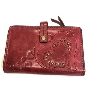 Fossil Leather Heart Studded Wallet